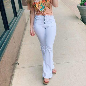 Here For The Party Flare Jeans-Wht